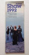 Shaw Festival 1992 Brochure Theater Program Canada Theatre Souvenir Book