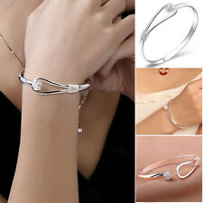 New Elegant Charm Womens Flower Silver Plated Cuff Bracelet Bangle Jewelry Gift