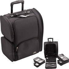2-Wheel Rolling Soft Makeup Case Luggage Travel Organizer 4 Pouches Carry On Bag