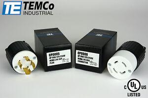 TEMCO NEMA L14-30P / L14-30R Plug Set 30A 125/250V Locking UL Listed / Generator