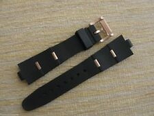 Black Rubber Watch Band Strap W/Rose Gold Clasp Links FIT/BVLG Diagono 21mmX8mm