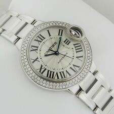 Cartier Ballon Bleu 33mm we902035 18kt White Gold Diamond Bezel NEW Ret: $36,100