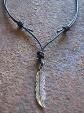 HERREN  kette Feder vintage Leder Halskette schwarz Collar Necklace LEDERKETTE