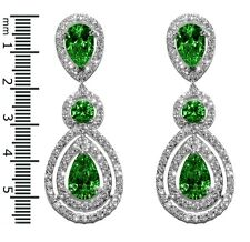 GLITZY PAVE EMERALD+CLEAR HALO TEARDROP CUBIC ZIRCONIA CHANDELIER EARRINGS 57MM
