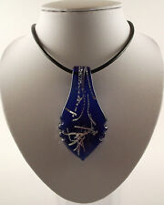 "Handmade Silver Foil Glass Royal Blue Leaf Pendant & 18"" Black Leather Cord."