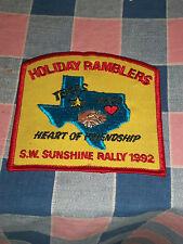 "Unused Patch Holiday Ramblers Waco S.W. Sunshine Rally 1992 Heart Friend 4"" High"