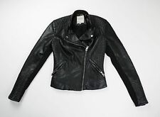 Zara Trafaluc Black Faux Leather Moto Biker Quilted Shoulder Jacket Size XS