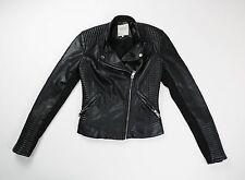 Zara Trafaluc Black Faux Leather Moto Biker Quilted Shoulder Jacket Size XS