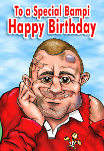 PERSONALISED WELSH RUGBY PLAYER -Humourous- GREETING CARD ANY RELATION - NX33