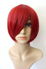 NEW Women's Short Bob Wig Anime Halloween Cosplay Costume Dark Wine Red Party