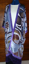 Velvet devore unstructured jacket Size to 28 Purple/grey/taupe geometric  NEW