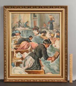 Orig JOSEPH MARGULIES Social-Realist Watercolor Painting Washing Fabric Factory