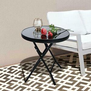 Round Garden Table Metal Glass Black Outdoor Drinks Side Bistro Durable Decor