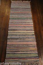 Lovely Pastel Handmade Antique Swedish Rag Rug ( 28x75 inches) 1930s