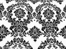 Taffeta Fabric Damask Fabric By The Yard Sewing Flocked Fabric Black White New
