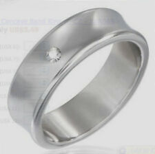 Stainless steel burnish-set concave band ring w/ CZ