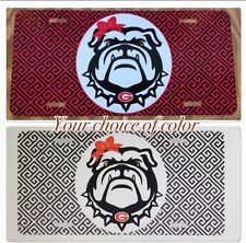 Georgia Bulldogs License Plate Metal Greek Key Bulldog Head Tag UGA