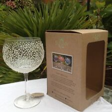 Sunny By Sue Hand Painted Gin & Tonic Large White Green  Balloon Glass Boxed 01