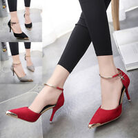 NEW Womens Stiletto High Heels Pointed Toe Ankle Strap Party Office Court Shoes