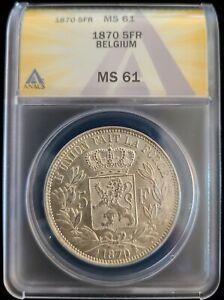 1870 Belgium Silver 5 Francs Frank Coin ANACS MS61 UNC Lion Leopold II Belges