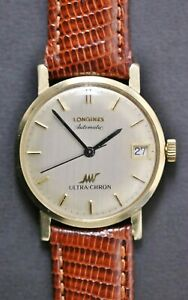 Vintage Longines Automatic Ultra-Chron 14k Gold Swiss Men's Watch Running Well