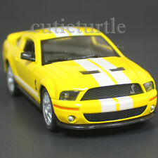 Kinsmart 2007 Ford Shelby Mustang GT 500 SVT 1:38 Yellow with White Stripes