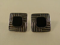 ONYX STERLING MODERNIST LINES EARRINGS INDONESIA TEXTURED SQUARE POST MODERN
