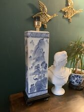 Vintage Blue & White Chinese Style Ceramic Table Lamp With Wooden Base
