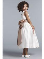 NEW GIRL'S US ANGELS IVORY SATIN TAUPE SASH ROSE FLOWER GIRL DRESS Size 5 US702