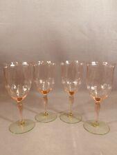 4 VINTAGE TIFFIN ELEGANT GLASS PINK GREEN WATERMELON DIAMOND OPTIC WATER GOBLETS