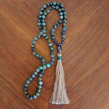 NEW Anthropologie Green African TURQUOISE Tassel MALA Prayer Gemstone NECKLACE