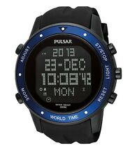 Seiko Pulsar Watch * PQ2021 Digital Chrono Blue Bezel Black Resin COD PayPal