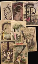 14 Postcards Victorian Woman & Children Birthday Initials Old Ca 1900 Rppc Photo