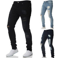 Men Stretch Ripped Skinny Jeans Distressed Frayed Slim Fit Biker Pants Trousers