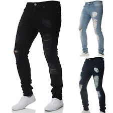 Mens Stretch Ripped Skinny Jeans Biker Distressed Frayed Slim Pants Trousers US