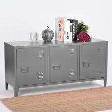 Storage Metal Filing Cabinet 3 Door Cupboard Locker Organizer Console Stand Grey