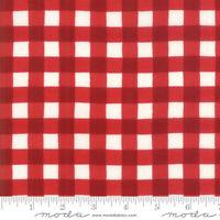 LAND THAT I LOVE MODA CHRISTMAS~BY 1/2 YD~white RED BUFFALO CHECK PLAID~19887