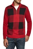 Weatherproof Vintage Mens Sweater Red Small S 1/2 Zip Buffalo Plaid $75- 214