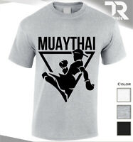 MUAY THAI KICKBOXING GYM BODYBUILDING T SHIRT TRAINING MMA UFC FIGHTER TEE TOP