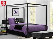 Metal Canopy Bed Frame Queen Size With Headboard Platform Modern Bedroom Black