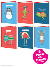 Brainbox Candy Christmas Xmas card multi pack of 6 funny cheeky cards novelty