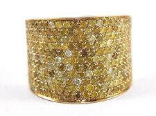 Round Pave Canary Diamond Cluster Ring Band 18k Yellow Gold 3.88Ct