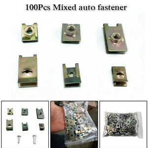 100x Car Body Door Panel Fastener Fixed Screw U Type Gasket Fender Metal Clips