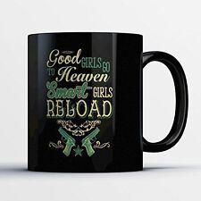 Gun Lovers Coffee Mug - Smart Girls Reload - Funny 11 oz Black Ceramic Tea Cup -