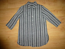 Women's Unbranded Multi Stripe ¾ Sleeve Classic Neck Button Up Linen Shirt Top L