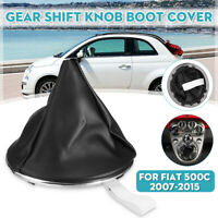 Gear Shift Knob Gaiter Boot Cover W/ Frame Retaining Ring For Fiat 500c 2007-15