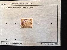1924 Ecuador Postage Stamp on Old Scott Sheet RA12 Semi-Postal