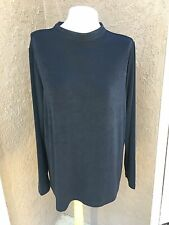 New Rare Soldout Chico's Travelers Black Mock Neck Top Shirt Sz 3 = XL 16 18 NWT