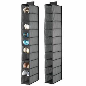 mDesign Soft 10 Shelf Fabric Closet Hanging Storage Unit, 2 Pack - Charcoal Gray