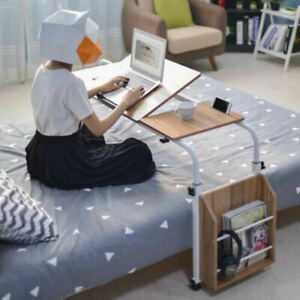 Portable Mobile Over Bed Sofa Side Table Rolling Laptop Computer PC Desk Home